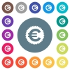 Euro sticker flat white icons on round color backgrounds - Euro sticker flat white icons on round color backgrounds. 17 background color variations are included.