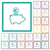 Euro piggy bank flat color icons with quadrant frames - Euro piggy bank flat color icons with quadrant frames on white background