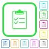 Checklist vivid colored flat icons - Checklist vivid colored flat icons in curved borders on white background