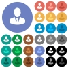 Businessman avatar round flat multi colored icons - Businessman avatar multi colored flat icons on round backgrounds. Included white, light and dark icon variations for hover and active status effects, and bonus shades on black backgounds.