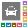 Taxi car square flat icons - Taxi car flat icons on simple color square backgrounds