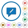 writing comment icons with shadows and outlines - writing comment flat color vector icons with shadows in round outlines on white background