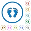Human Footprints icons with shadows and outlines - Human Footprints flat color vector icons with shadows in round outlines on white background