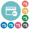 Credit card access flat round icons - Credit card access flat white icons on round color backgrounds