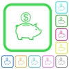 Dollar piggy bank vivid colored flat icons - Dollar piggy bank vivid colored flat icons in curved borders on white background