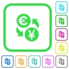 Euro Yen money exchange vivid colored flat icons - Euro Yen money exchange vivid colored flat icons in curved borders on white background