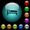 Sleeping man icons in color illuminated spherical glass buttons on black background. Can be used to black or dark templates - Sleeping man icons in color illuminated glass buttons