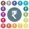Indian Rupee sign flat white icons on round color backgrounds - Indian Rupee sign flat white icons on round color backgrounds. 17 background color variations are included.