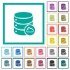 Cloud database flat color icons with quadrant frames - Cloud database flat color icons with quadrant frames on white background