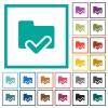 Folder ok flat color icons with quadrant frames - Folder ok flat color icons with quadrant frames on white background