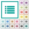 Unordered list flat color icons with quadrant frames - Unordered list flat color icons with quadrant frames on white background
