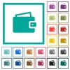Single wallet flat color icons with quadrant frames - Single wallet flat color icons with quadrant frames on white background
