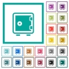 Single strong box flat color icons with quadrant frames - Single strong box flat color icons with quadrant frames on white background