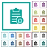 Note lock flat color icons with quadrant frames - Note lock flat color icons with quadrant frames on white background