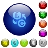 Pound Euro money exchange color glass buttons - Pound Euro money exchange icons on round color glass buttons