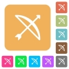 Bow with arrow rounded square flat icons - Bow with arrow flat icons on rounded square vivid color backgrounds.