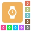 Watch rounded square flat icons - Watch flat icons on rounded square vivid color backgrounds.