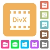 DivX movie format rounded square flat icons - DivX movie format flat icons on rounded square vivid color backgrounds.