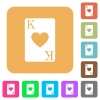 King of hearts card rounded square flat icons - King of hearts card flat icons on rounded square vivid color backgrounds.