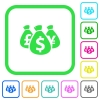 Money bags vivid colored flat icons - Money bags vivid colored flat icons in curved borders on white background