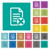 Cancel document square flat multi colored icons - Cancel document multi colored flat icons on plain square backgrounds. Included white and darker icon variations for hover or active effects.