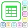 Spreadsheet adjust table row height vivid colored flat icons in curved borders on white background - Spreadsheet adjust table row height vivid colored flat icons