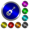 Acoustic guitar luminous coin-like round color buttons - Acoustic guitar icons on round luminous coin-like color steel buttons