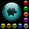 Piggy bank icons in color illuminated spherical glass buttons on black background. Can be used to black or dark templates - Piggy bank icons in color illuminated glass buttons