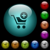 Add item to cart icons in color illuminated spherical glass buttons on black background. Can be used to black or dark templates - Add item to cart icons in color illuminated glass buttons