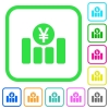 Yen financial graph vivid colored flat icons - Yen financial graph vivid colored flat icons in curved borders on white background