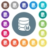 Database save flat white icons on round color backgrounds - Database save flat white icons on round color backgrounds. 17 background color variations are included.