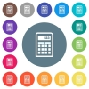 Scientific calculator flat white icons on round color backgrounds - Scientific calculator flat white icons on round color backgrounds. 17 background color variations are included.