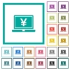 Laptop with yen sign flat color icons with quadrant frames - Laptop with yen sign flat color icons with quadrant frames on white background
