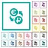 Euro Ruble money exchange flat color icons with quadrant frames - Euro Ruble money exchange flat color icons with quadrant frames on white background