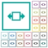 Width tool flat color icons with quadrant frames - Width tool flat color icons with quadrant frames on white background