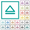 Media eject flat color icons with quadrant frames - Media eject flat color icons with quadrant frames on white background