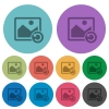 Image rotate left color darker flat icons - Image rotate left darker flat icons on color round background