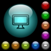 Single monitor icons in color illuminated spherical glass buttons on black background. Can be used to black or dark templates - Single monitor icons in color illuminated glass buttons
