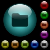 Single folder icons in color illuminated glass buttons - Single folder icons in color illuminated spherical glass buttons on black background. Can be used to black or dark templates