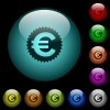 Euro sticker icons in color illuminated glass buttons - Euro sticker icons in color illuminated spherical glass buttons on black background. Can be used to black or dark templates