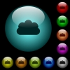 Cloud icons in color illuminated glass buttons - Cloud icons in color illuminated spherical glass buttons on black background. Can be used to black or dark templates