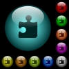 Puzzle icons in color illuminated glass buttons - Puzzle icons in color illuminated spherical glass buttons on black background. Can be used to black or dark templates