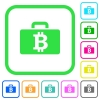 Bitcoin bag vivid colored flat icons - Bitcoin bag vivid colored flat icons in curved borders on white background