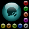 Moderate blog comment icons in color illuminated glass buttons - Moderate blog comment icons in color illuminated spherical glass buttons on black background. Can be used to black or dark templates