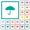 Umbrella flat color icons with quadrant frames - Umbrella flat color icons with quadrant frames on white background