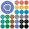 Grab cursor round flat multi colored icons - Grab cursor multi colored flat icons on round backgrounds. Included white, light and dark icon variations for hover and active status effects, and bonus shades on black backgounds.