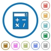 Pocket calculator icons with shadows and outlines - Pocket calculator flat color vector icons with shadows in round outlines on white background