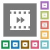 Movie fast forward square flat icons - Movie fast forward flat icons on simple color square backgrounds