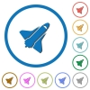 Space shuttle icons with shadows and outlines - Space shuttle flat color vector icons with shadows in round outlines on white background