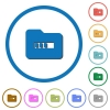 Processing folder icons with shadows and outlines - Processing folder flat color vector icons with shadows in round outlines on white background